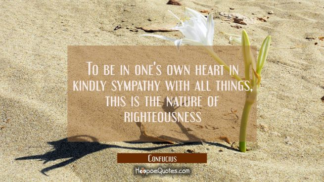 To be in one's own heart in kindly sympathy with all things, this is the nature of righteousness