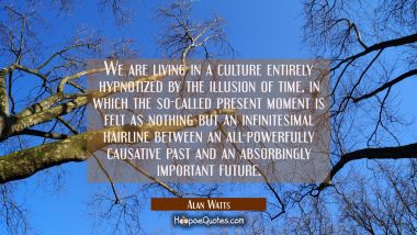 We are living in a culture entirely hypnotized by the illusion of time, in which the so-called present moment is felt as nothing but an infintesimal hairline between an all-powerfully causative past and an absorbingly important future. Alan Watts Quotes
