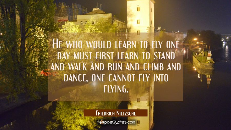 He who would learn to fly one day must first learn to stand and walk and run and climb and dance, o Friedrich Nietzsche Quotes