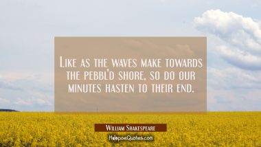 Like as the waves make towards the pebbl'd shore so do our minutes hasten to their end. William Shakespeare Quotes