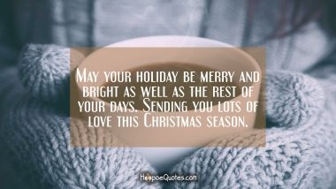 May your holiday be merry and bright as well as the rest of your days. Sending you lots of love this Christmas season. Christmas Quotes