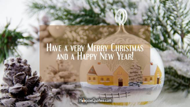 Have a very Merry Christmas and a Happy New Year!