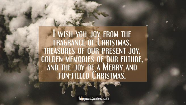I wish you joy from the fragrance of Christmas, treasures of our present joy, golden memories of our future and the joy of a Merry and fun-filled Christmas.