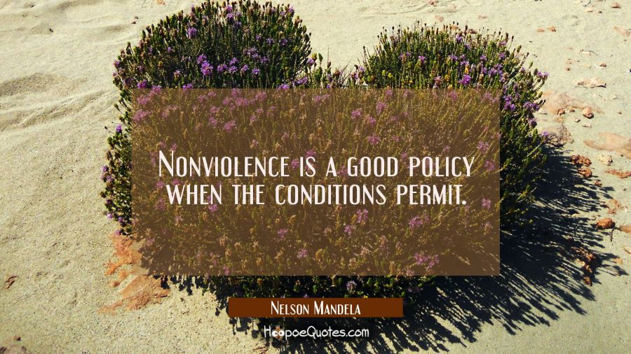 Nonviolence is a good policy when the conditions permit.