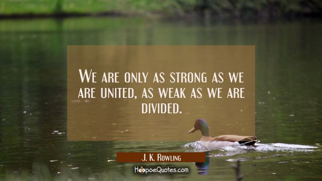 We are only as strong as we are united, as weak as we are divided.
