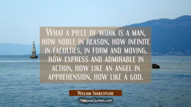 What a piece of work is a man how noble in reason how infinite in faculties in form and moving how