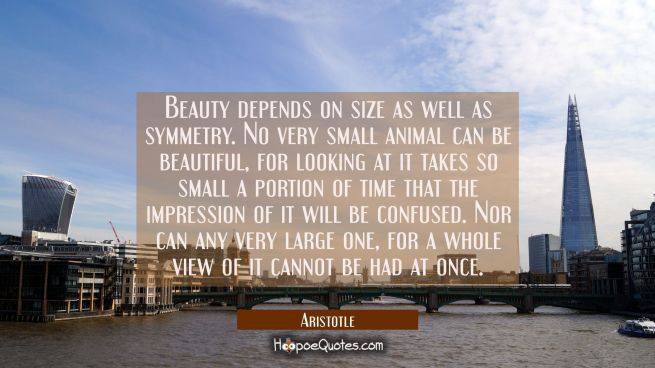 Beauty depends on size as well as symmetry. No very small animal can be beautiful for looking at it
