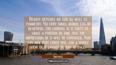 Beauty depends on size as well as symmetry. No very small animal can be beautiful for looking at it Aristotle Quotes