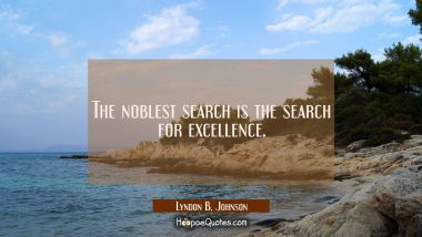 The noblest search is the search for excellence.