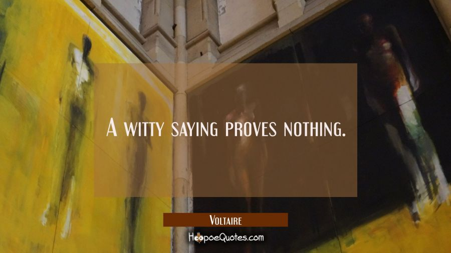 A witty saying proves nothing. Voltaire Quotes