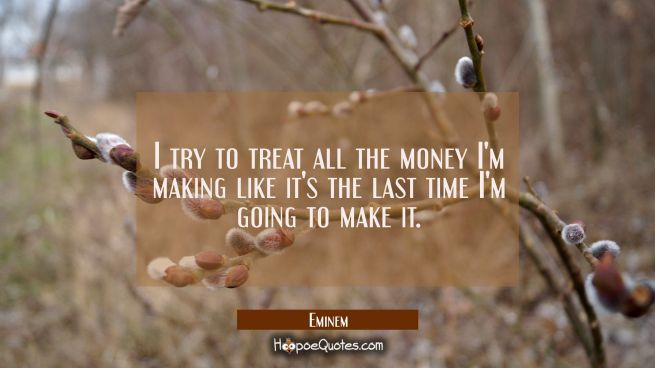 I try to treat all the money I'm making like it's the last time I'm going to make it.