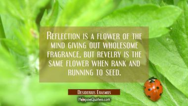 Reflection is a flower of the mind giving out wholesome fragrance, but revelry is the same flower w