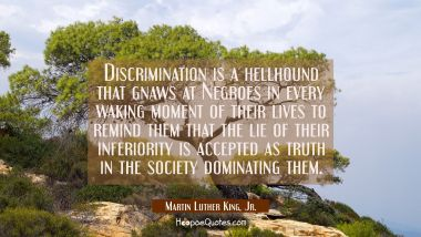 Discrimination is a hellhound that gnaws at Negroes in every waking moment of their lives to remind