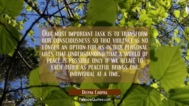 Our most important task is to transform our consciousness so that violence is no longer an option f
