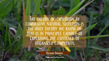 The theory of evolution by cumulative natural selection is the only theory we know of that is in pr