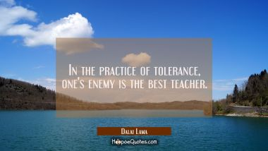 In the practice of tolerance one's enemy is the best teacher. Dalai Lama Quotes