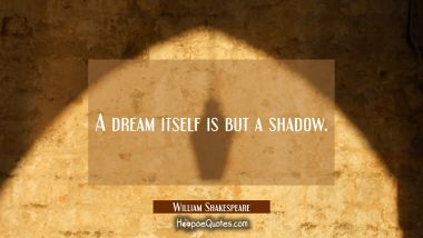 A dream itself is but a shadow.