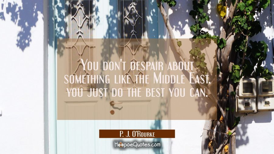 You don't despair about something like the Middle East you just do the best you can. P. J. O'Rourke Quotes