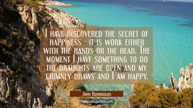 I have discovered the secret of happiness - it is work either with the hands or the head. The momen