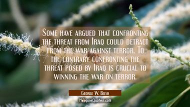 Some have argued that confronting the threat from Iraq could detract from the war against terror. T