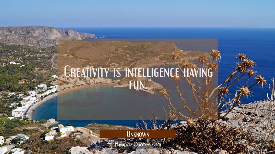 Quote of the Day - Creativity is intelligence having fun. - Unknown