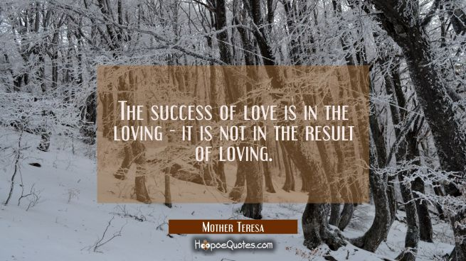 The success of love is in the loving - it is not in the result of loving.