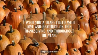 I wish you a heart filled with love and gratitude on this Thanksgiving and throughout the year. Thanksgiving Quotes