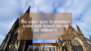 One always tends to overpraise a long book because one has got through it.