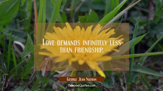 Love demands infinitely less than friendship.
