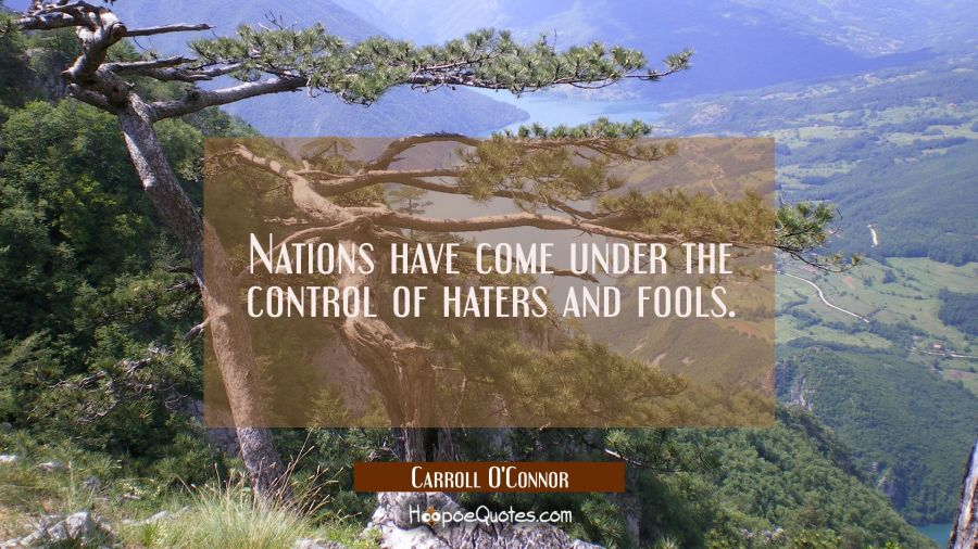Nations have come under the control of haters and fools. Carroll O'Connor Quotes