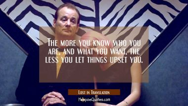 The more you know who you are, and what you want, the less you let things upset you. Quotes