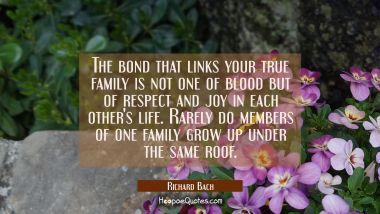 The bond that links your true family is not one of blood but of respect and joy in each other's lif