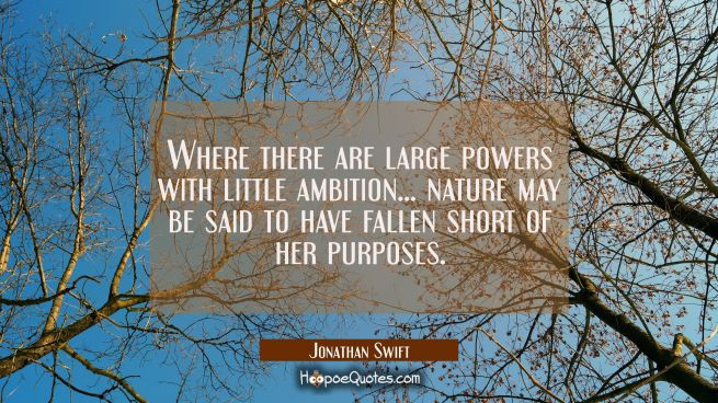 Where there are large powers with little ambition... nature may be said to have fallen short of her
