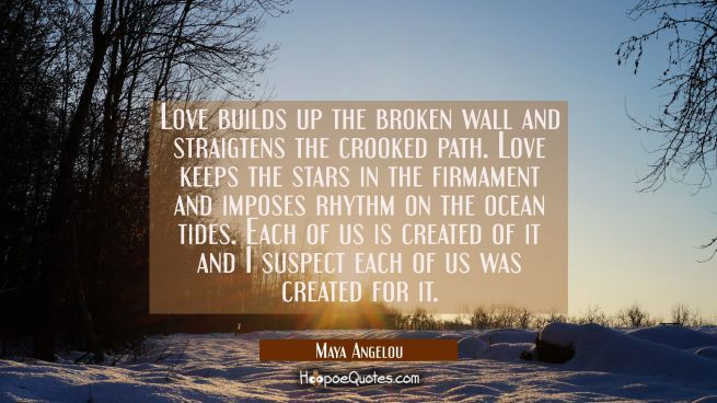 love builds up the broken wall and straigtens the crooked path. love keeps the stars in the firmame