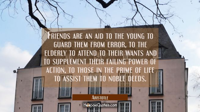 Friends are an aid to the young to guard them from error, to the elderly to attend to their wants a