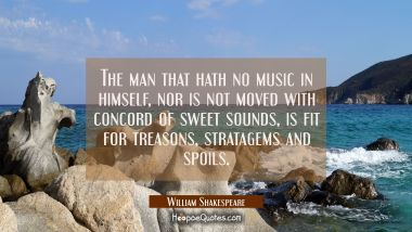 The man that hath no music in himself Nor is not moved with concord of sweet sounds is fit for trea