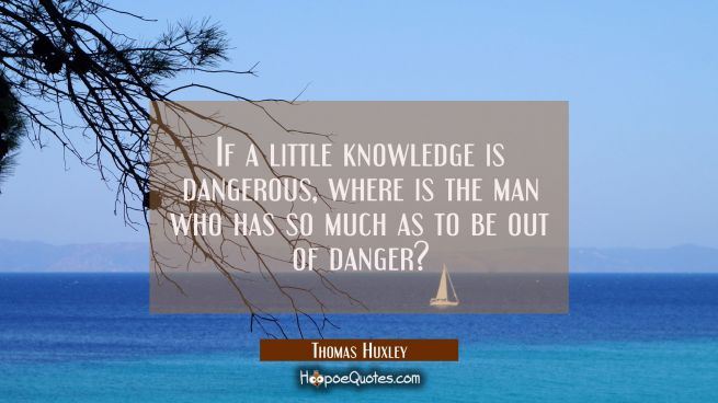 If a little knowledge is dangerous where is the man who has so much as to be out of danger?