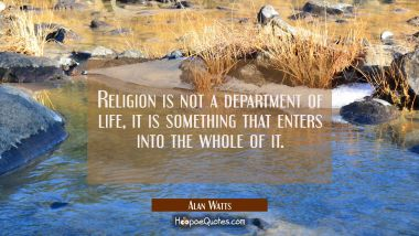 Religion is not a department of life, it is something that enters into the whole of it. Alan Watts Quotes