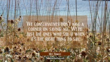 We conservatives don't have a corner on saying 'no'. We're just the ones who say it when it's the r