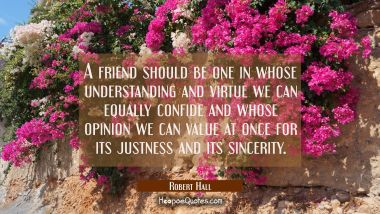 A friend should be one in whose understanding and virtue we can equally confide and whose opinion w Robert Hall Quotes
