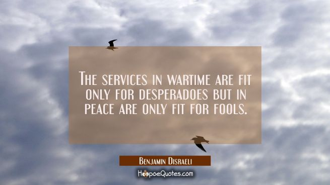 The services in wartime are fit only for desperadoes but in peace are only fit for fools.