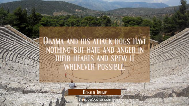 Obama and his attack dogs have nothing but hate and anger in their hearts and spew it whenever poss