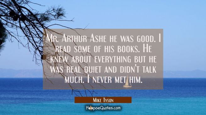 Mr. Arthur Ashe he was good. I read some of his books. He knew about everything but he was real qui