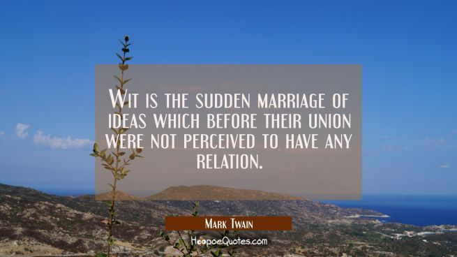 Wit is the sudden marriage of ideas which before their union were not perceived to have any relatio