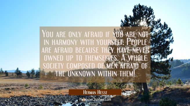 You are only afraid if you are not in harmony with yourself. People are afraid because they have never owned up to themselves. A whole society composed of men afraid of the unknown within them!