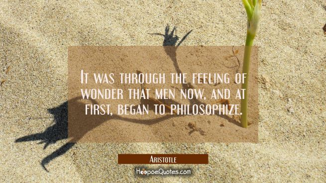 It was through the feeling of wonder that men now and at first began to philosophize