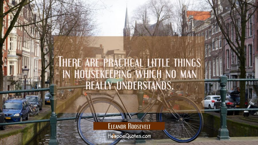 There are practical little things in housekeeping which no man really understands. Eleanor Roosevelt Quotes