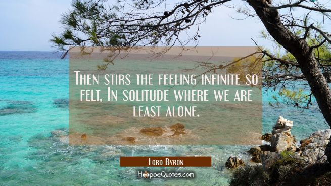 Then stirs the feeling infinite so felt, In solitude where we are least alone.