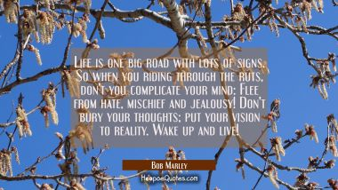 Life is one big road with lots of signs, So when you riding through the ruts, don't you complicate your mind: Flee from hate, mischief and jealousy! Don't bury your thoughts; put your vision to reality. Wake up and live! Bob Marley Quotes