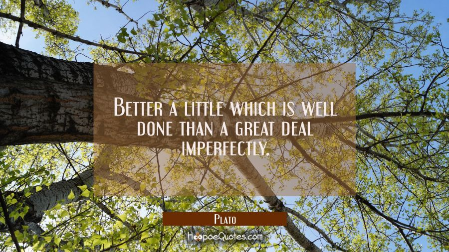 Better a little which is well done than a great deal imperfectly. Plato Quotes